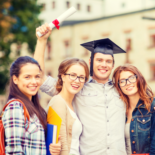 students or teenagers with files and diploma