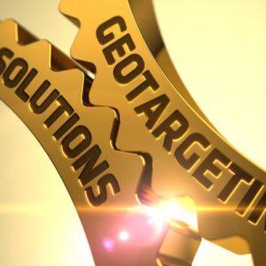Geotargeting Solutions Concept. Golden Metallic Cog Gears.