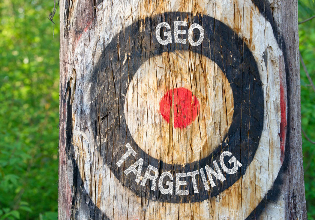 Geo Targeting – tree with target and text in the forest – Geotargeting, Geomarketing, Geolocation