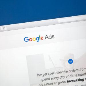 Google Adwords website on a computer screen.